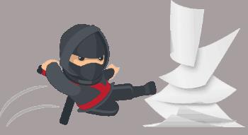 Ninja kicks paper